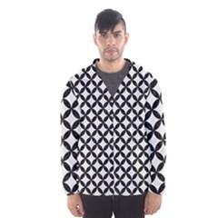 Circles3 Black Marble & White Linen Hooded Wind Breaker (men)