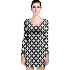 Circles3 Black Marble & White Linen Long Sleeve Velvet Bodycon Dress