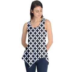 Circles3 Black Marble & White Linen (r) Sleeveless Tunic