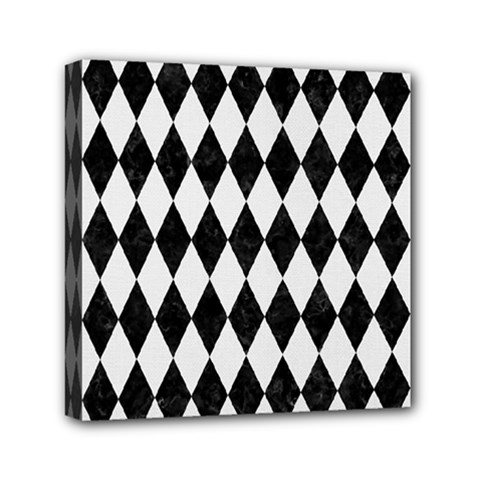 Diamond1 Black Marble & White Linen Mini Canvas 6  X 6