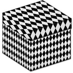 Diamond1 Black Marble & White Linen Storage Stool 12