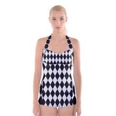 Diamond1 Black Marble & White Linen Boyleg Halter Swimsuit