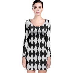 Diamond1 Black Marble & White Linen Long Sleeve Velvet Bodycon Dress