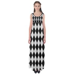 Diamond1 Black Marble & White Linen Empire Waist Maxi Dress
