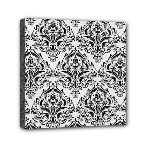 Damask1 Black Marble & White Linen Mini Canvas 6  X 6