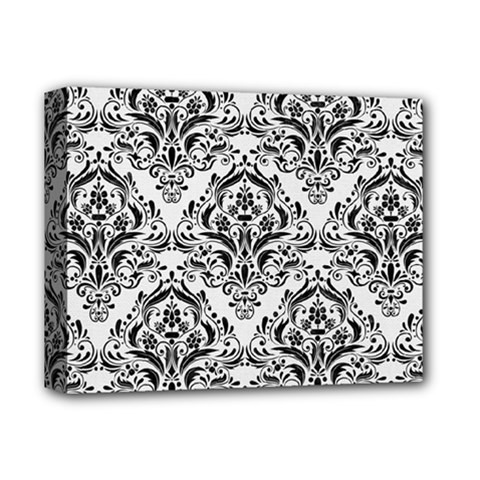 Damask1 Black Marble & White Linen Deluxe Canvas 14  X 11