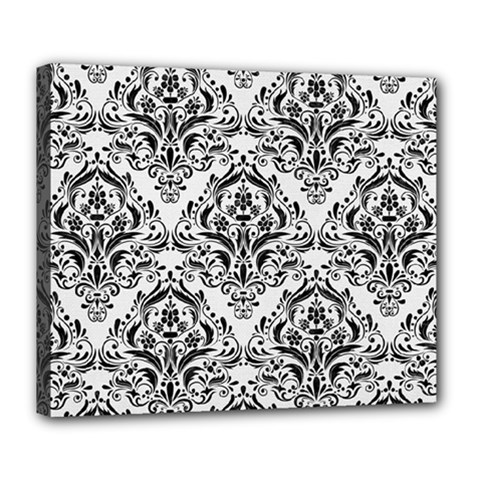Damask1 Black Marble & White Linen Deluxe Canvas 24  X 20