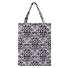 Damask1 Black Marble & White Linen Classic Tote Bag