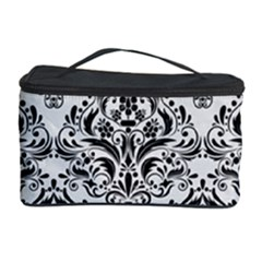 Damask1 Black Marble & White Linen Cosmetic Storage Case