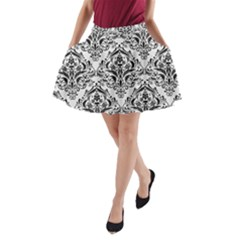 Damask1 Black Marble & White Linen A Line Pocket Skirt