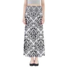 Damask1 Black Marble & White Linen Full Length Maxi Skirt