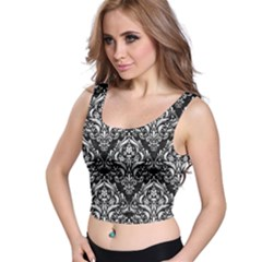 Damask1 Black Marble & White Linen (r) Crop Top