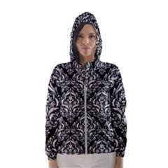 Damask1 Black Marble & White Linen (r) Hooded Wind Breaker (women)