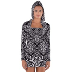 Damask1 Black Marble & White Linen (r) Long Sleeve Hooded T Shirt