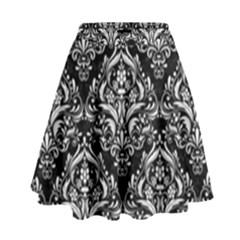 Damask1 Black Marble & White Linen (r) High Waist Skirt