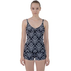 Damask1 Black Marble & White Linen (r) Tie Front Two Piece Tankini