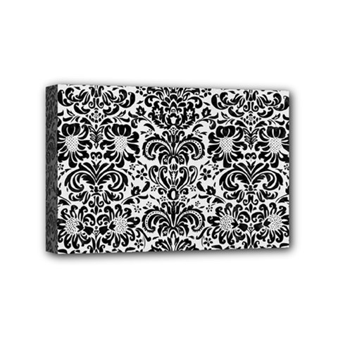 Damask2 Black Marble & White Linen Mini Canvas 6  X 4