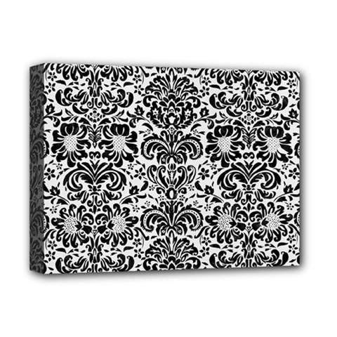 Damask2 Black Marble & White Linen Deluxe Canvas 16  X 12