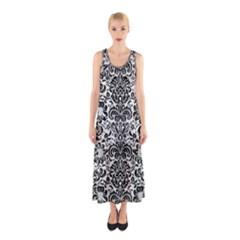 Damask2 Black Marble & White Linen Sleeveless Maxi Dress