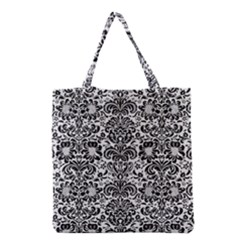 Damask2 Black Marble & White Linen Grocery Tote Bag