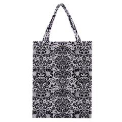 Damask2 Black Marble & White Linen Classic Tote Bag