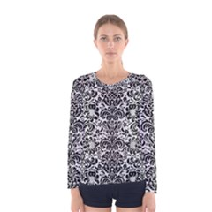 Damask2 Black Marble & White Linen Women s Long Sleeve Tee