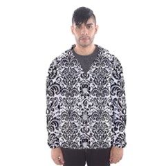 Damask2 Black Marble & White Linen Hooded Wind Breaker (men)