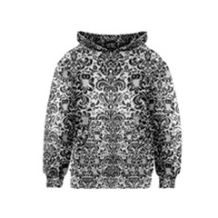 Damask2 Black Marble & White Linen Kids  Pullover Hoodie
