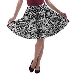 Damask2 Black Marble & White Linen A Line Skater Skirt