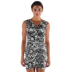 Damask2 Black Marble & White Linen Wrap Front Bodycon Dress