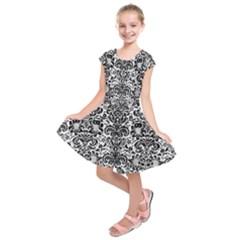 Damask2 Black Marble & White Linen Kids  Short Sleeve Dress