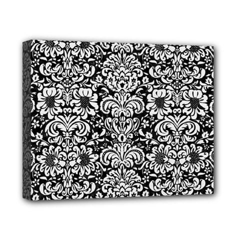 Damask2 Black Marble & White Linen (r) Canvas 10  X 8