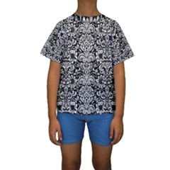 Damask2 Black Marble & White Linen (r) Kids  Short Sleeve Swimwear