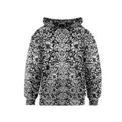 Damask2 Black Marble & White Linen (r) Kids  Pullover Hoodie