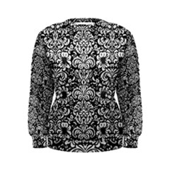 Damask2 Black Marble & White Linen (r) Women s Sweatshirt