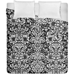Damask2 Black Marble & White Linen (r) Duvet Cover Double Side (california King Size)