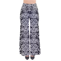 Damask2 Black Marble & White Linen (r) Pants