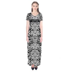 Damask2 Black Marble & White Linen (r) Short Sleeve Maxi Dress