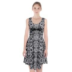 Damask2 Black Marble & White Linen (r) Racerback Midi Dress