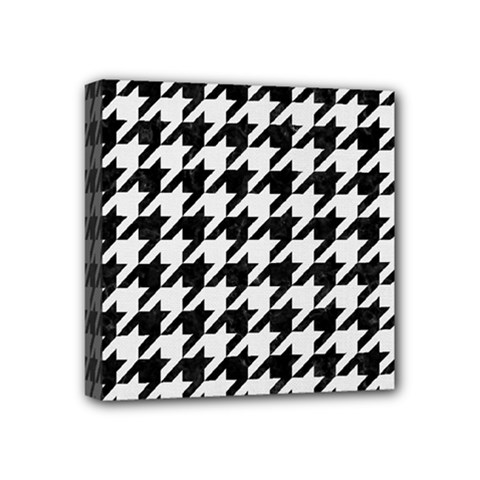 Houndstooth1 Black Marble & White Linen Mini Canvas 4  X 4