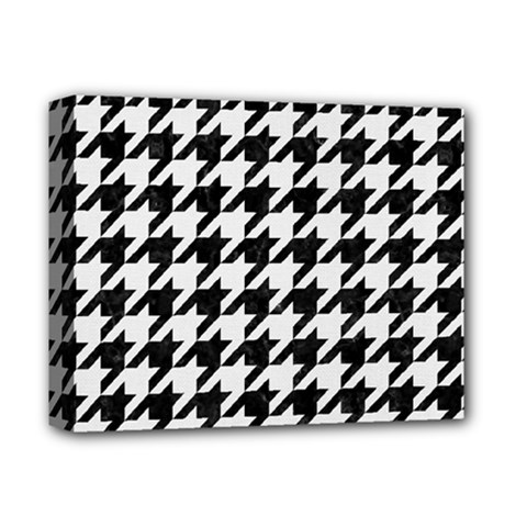Houndstooth1 Black Marble & White Linen Deluxe Canvas 14  X 11