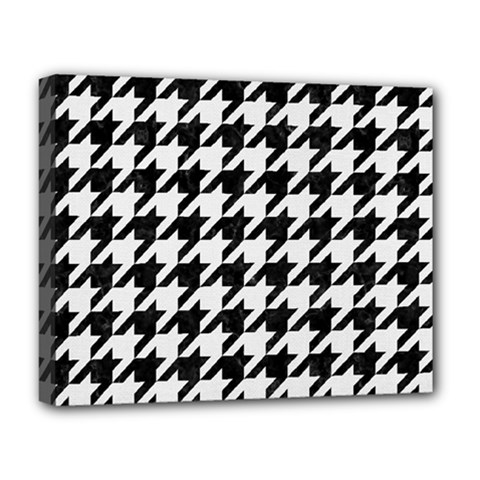 Houndstooth1 Black Marble & White Linen Deluxe Canvas 20  X 16