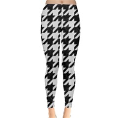 Houndstooth1 Black Marble & White Linen Leggings