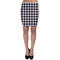 Houndstooth1 Black Marble & White Linen Bodycon Skirt
