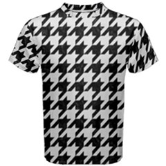 Houndstooth1 Black Marble & White Linen Men s Cotton Tee