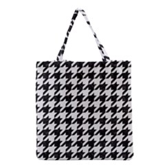 Houndstooth1 Black Marble & White Linen Grocery Tote Bag