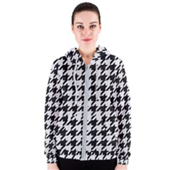 Houndstooth1 Black Marble & White Linen Women s Zipper Hoodie