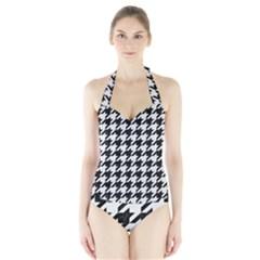 Houndstooth1 Black Marble & White Linen Halter Swimsuit