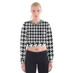 Houndstooth1 Black Marble & White Linen Cropped Sweatshirt