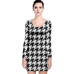 Houndstooth1 Black Marble & White Linen Long Sleeve Velvet Bodycon Dress
